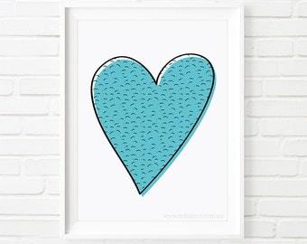 Heart print, Kids prints, girls print, printable art, nursery wall art, scandinavian print, nursery decor, blue decor, girls room decor