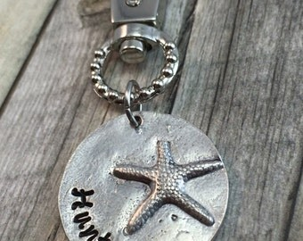 Starfish clip, personalized keychain, zipper pull