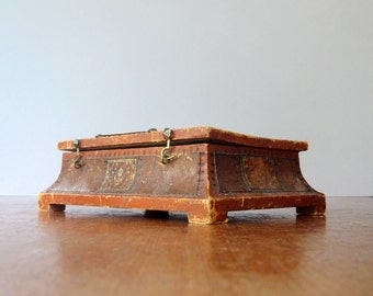 Vintage Tooled Leather Box - Italian / Spanish Marbled Paper