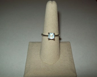Sterling Silver Aquamarine Engagement  Ring - size 7 1/2