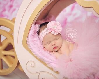 Newborn Tutu, Light Pink, Flower Headband, Ready To Ship, Pearl Center, Pink Lace, Baby Pink, Tutu Set, Photo Prop