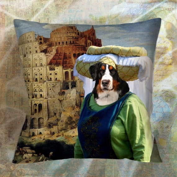 Dog Pillow - Bernese Mountain Dog Pillow Case - Bernese Mountain Dog Pillow Cover - Dog Pillow Cover - Bernese Mountain Dog Art