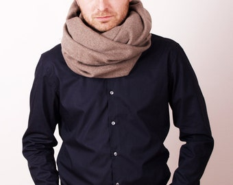 Wool & Cashmere Cowl Camel Tube Scarf