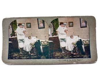 Antique Stereoview Card Griffith 77 Oft in the Stilly of Night Edwardian Humor Griffith Stereographic Card Picture Man Holding Baby Mr Mom