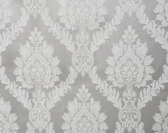 "Jacquard Damask Castleford 101 Grey drapery fabric by yard bedding 56"" wide"
