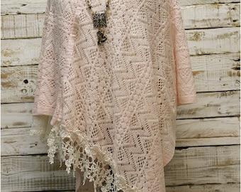 Poncho,PINK, lace knit, check shawl, wrap, scarves, spring, fringe, country,crochet, wraps, bohemian, wedding ,fashion, accessories | PW2
