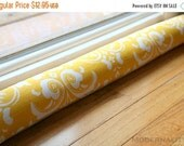 SALE Window Snake- Draft Stopper- Yellow Ozborne Damask- Modern Door Snake- Fill with Rice- Decorative Draft Seal- Fireplace Draught
