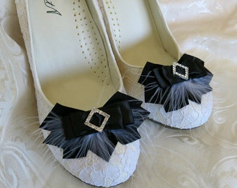 Bridal Black Feathered Feather Shoe Clips Rhinestone Accents Art Deco Ribbon  Set of 2