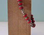 Sterling Silver and Red Glass Beaded Bracelet Handmade Jewelry