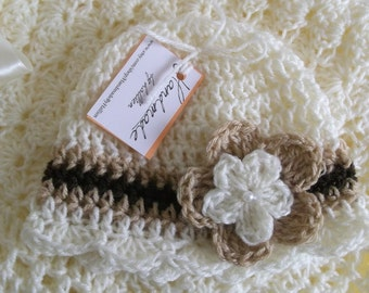 Crochet Baby Hat Beanie Creme Ivory Brown Crochet Flower and Pearl Baby Girl Baby Shower Gift Baptism Christening