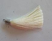 Ecru Silky Tassel Pendant -65mm- Antiqued Silver Tassel Cap - Jewelry Supply - 1 Piece (SC17)