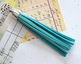 Tassel Deerskin Blue Turquoise Leather -90mm- Smooth Silver Cap Pendant - 1 Piece