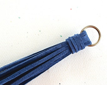 Navy Blue Suede Lace Tassel 140 mm Pendant Handmade Accessorie - 1 Piece