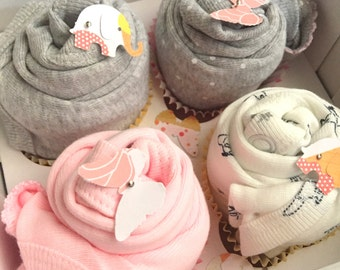 4 Bodysuit Cupcake Baby Gift Set // Shower gift, Baby Gift Set, Baby Gift, Baby Shower Decorations, Baby girl