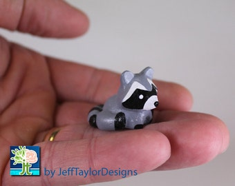 Raccoon Polymer Clay Figurine Sculpture