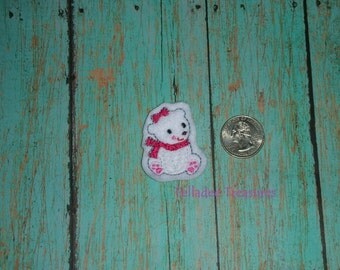 Girl Polar Bear  Feltie -Small White felt - Great for Hair Bows, Reels and Crafts - Christmas / Winter