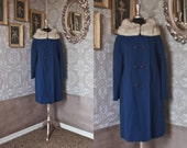 Vintage 1960's Dark Blue Wool Coat with Gray Mink Collar M/L