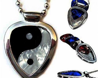 PickBay Guitar Pick Holder necklace set w Ying Yang Guitar pick +gemtones picks
