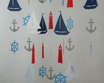 Nautical Baby Mobile with Sailboat, Anchor, Helm and Lighthouse