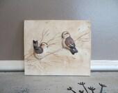 Hand Made Pottery Tile Shabby Chic Birds Rustic Pottery Rustic Art Tile Cottage Chic Decor Bird Art