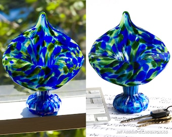 Hand Blown Glass Jack In The Pulpit Vase - Lapis Blue and Aventurine Green Dots