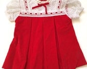 Red Velvety Lace Dress Size 9 Months