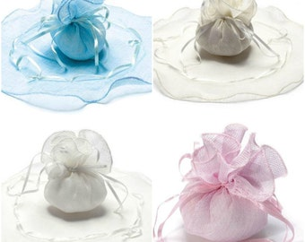 Round Gift Pouch Canvas Favor Bag with Tie 4 colors pcs.24