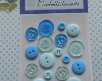 Buttons Blue 18 pcs Assorted