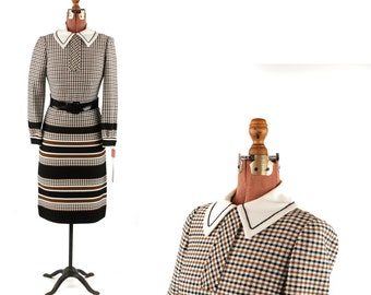 Vintage 1960's Dalton Brown + Black Abstract Preppy Houndstooth Shift Scooter Mod Dress S