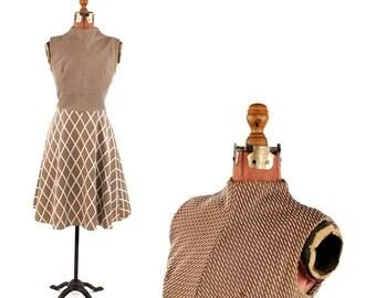 Vintage 1960's Light Tan Brown + White Abstract Op Art Geometric Print Pattern Mod Flair Dress M