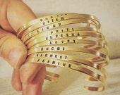 ON SALE Super Skinny Golden Brass Cuff Bracelet with Custom Stamped Wording - Personalized Gold Cuff Bracelet