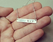 Silver Bar Necklace - Personalized Sterling Silver Bar Necklace - Name Plate Necklace - Initials Necklace - Dainty Shimmering Silver Chain