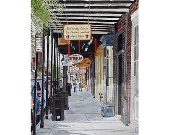 French Quarter Art Print - New Orleans 8 -  Street Scene 11 x 14 Print