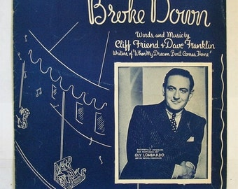 "GUY LOMBARDO PLAYS.""The Merry-go-round broke down"" 1937 Sheet music featuring Lombardo cover, used  condition, See Description for more info"
