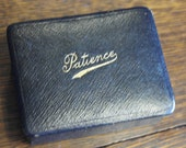 antique leather minature patents card game and box