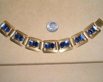 Vintage  Shaped Blue Glass Art Deco Solid Brass Panel Bracelet 1930's Jewelry 2299