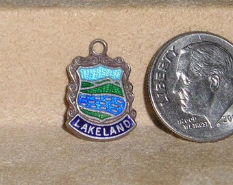 Vintage Sterling Silver Lakeland Enamel Travel Shield Charm Or Pendant 1950's Signed  Jewelry 6027