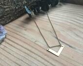 Handmade Brass Gold Chevron Layering Necklace