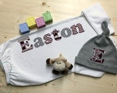 Personalized Baby Gown and Hat Set, MSU Baby, Newborn Gown, MSU Baby Outfit, Mississippi State, Baby Shower Gift, MSU Bulldogs