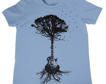 On Sale - Kids SMALL - Guitar Tree Of Life And Science Childrens Musical Tree Roots Music Tee Kids Cool Tees Kids Clothing for Boys Girls