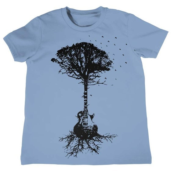 Guitar Tree Of Life And Science Childrens Musical Tree Roots Music Tee Kids Cool Tees Kids Clothing Childrens Birhtday Gifts for Boys Girls