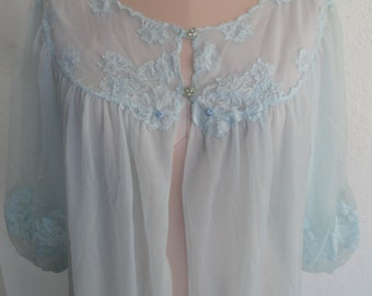 Vintage Sheer Robe Kayser Dressing Gown Size Large Sheer Blue Chiffon