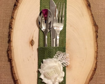 Acid Green Burlap Silverware Holder with white fabric flower - Set of 4 Easter Spring Summer