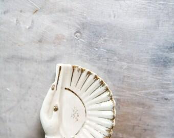 Vintage Trinket Dish Ceramic Hand Fan White and Gold Decrative Jewelry Dish Holder