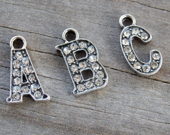 26 Rhinestone Alphabet Charms Full Set 16mm Antiqued Silver