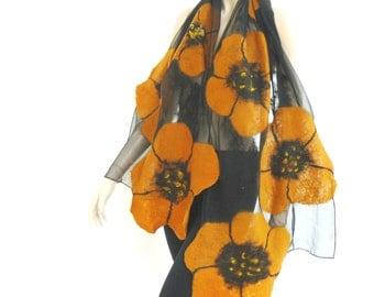 Nuno felted shawl - large scarf - wool and silk - Black and yellow silk scarf