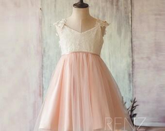 2016 Junior Bridesmaid dress Short,Off White and Peach Flower Girl dress, A Line Baby Lace Girl dress, V Neck Mesh dress knee length (FK311)