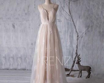 2017 Champagne Bridesmaid Dress, Long Wedding Dress, Sweetheart Hollow Bridal Dress, Flower Tulle Prom Dress Backless Floor Length (LW088)