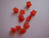 10 Pc Small Flower Beads Charms Red Frosted Acrylic Dimensional Focal Jewelry 13mm