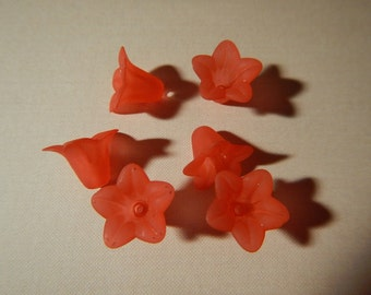 6 Pc Flower Beads Charms Red Frosted Acrylic Dimensional Focal Jewelry